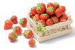 Small wooden crate with strawberries