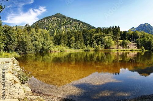 Moor Lake, a small lake in the Alps close to Oberstdorf