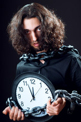 Time concept with man and clock