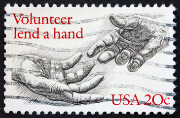 Postage stamp USA 1983 Volunteer lend a hand