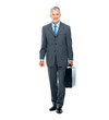 Happy businessman with briefcase going to office