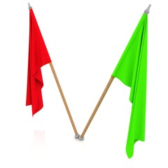two flags waving on the wind. Isolated over white.