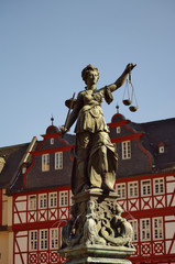 Statue of Justizia at Römer in Frankfurt