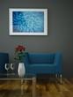 Wohndesign - blauer Sessel