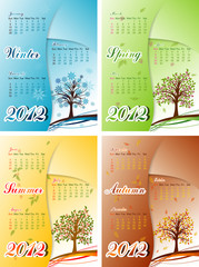 Tree winter, spring, summer, autumn calendar 2012, vector