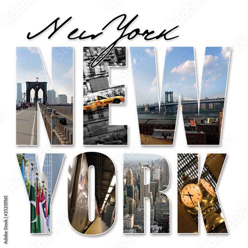Foto op Plexiglas New York TAXI NYC New York City Graphic Montage