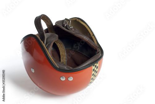 Leinwandbild Motiv 70er Jahre Motorrad Helm
