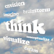 Think Words in Sky - Imagine New Ideas and Dreams