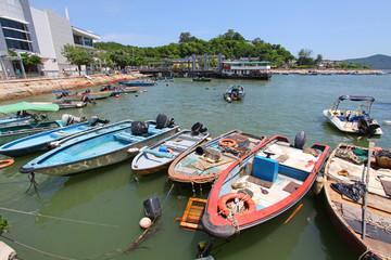 Fishing boats along the pier in Hong Kong