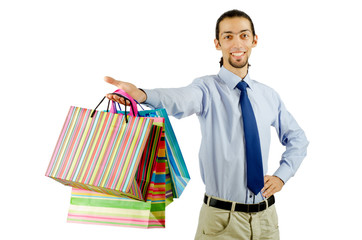 Christmas shopping concept with bags