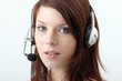 beautiful woman with headset