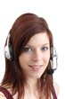 beautiful woman with headset (white background)