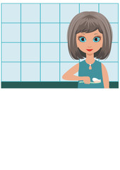 Girl brushes teeth in a bathroom. vector