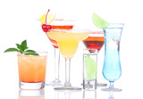 Cocktails alcohol drinks spirits mojito, mai tai, margarita, mar poster