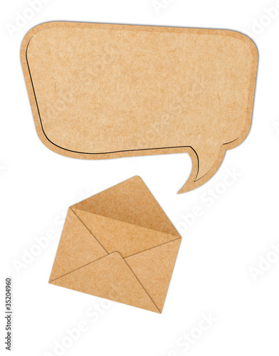 Recycle Paper speech bubble out from Envelope