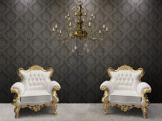 Royal interior. Golden chandelier with luxurious armchairs