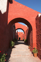 Monastery red-orange arches and walls