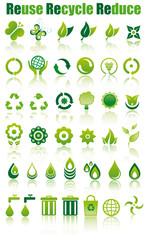 set icone verdi ecologia e ambiente