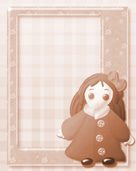 sepia frame with vintage cute doll on decorated background
