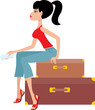 Woman sits on a suitcase. Vector