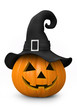 Halloween - carved pumpkin with witch hat - 35211102