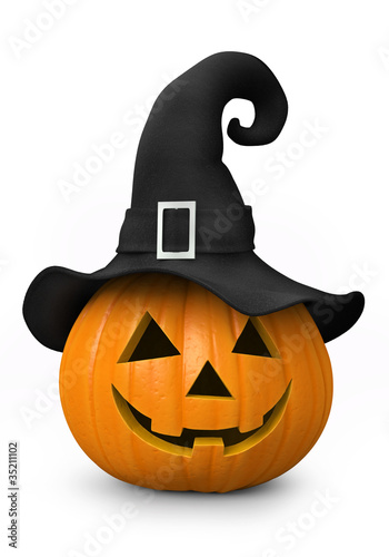 Halloween - carved pumpkin with witch hat