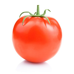 One fresh juicy tomato, isolated on a white background (with Cli