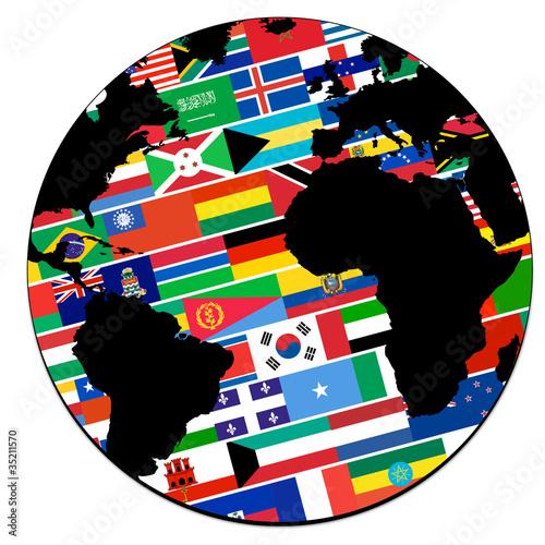 globe terrestre - drapeaux -  pays du monde
