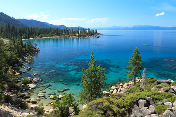 Lake Tahoe overview with kayakers on water