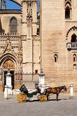 Kutsche vor der Kathedrale von Sevilla, Spanien