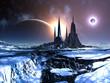 Derelict Alien City with Solar Eclipse