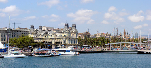 old seaport and quay of barcelona ,spain
