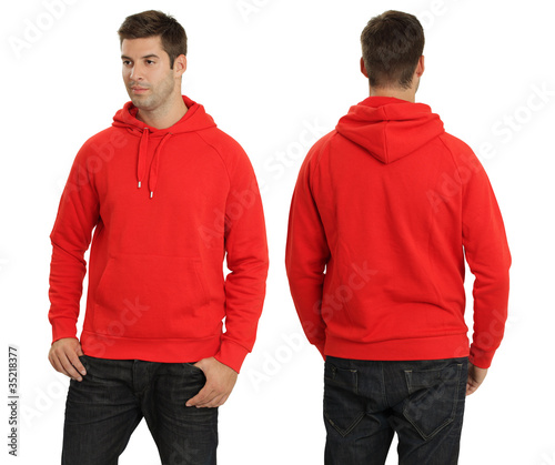 Male wearing blank red hoodie