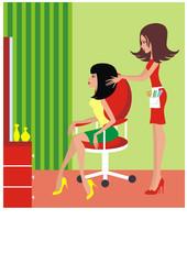Woman in a beauty salon. vector