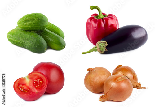 Set vegetables on white background.