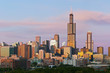 Chicago skyline at twilight.