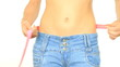 Woman in jeans measuring her belly and showing ok sign