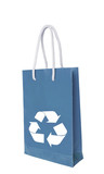 Blue recycle paper shopping bag