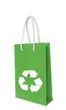 Green recycle paper shopping bag