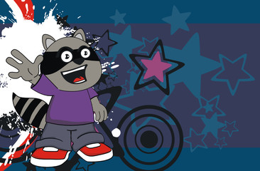 raccoon kid cartoon background11
