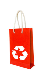 Red recycle paper shopping bag