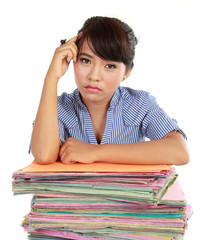 young woman stressed at work