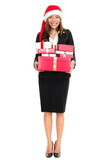 Christmas business woman with santa hat and gifts