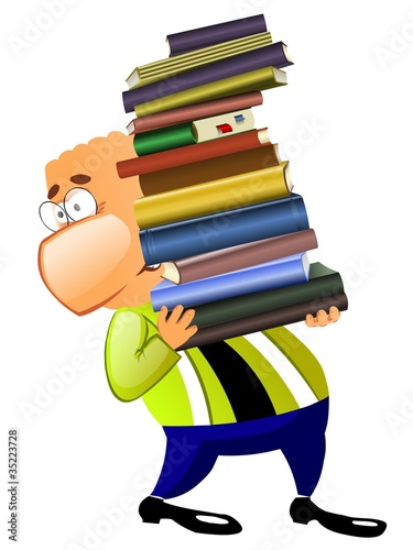 Businessman holds a heavy pile of books in hands.