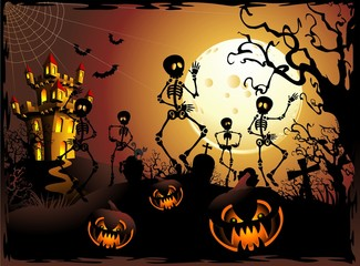 Halloween Scheletri e Castello-Halloween Skeleton and Castle
