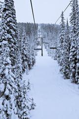 Ski Resort Chairlift on Fresh Snow Day