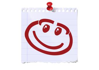 gesicht lachend glücklich notizzettel pin pinwand smiley