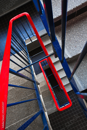 Stairs in red and blue