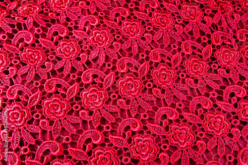 Detail of red lace pattern fabric - 35225783