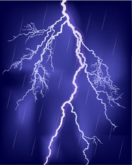 bright lightning in rain sky